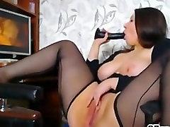 Lingerie big tits BBW masturbating to porn