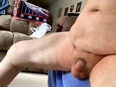 Big sitter tranny hairy grandpa floggs his cock.