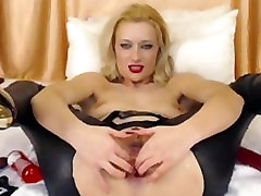 Cute Blonde In Latex Pants Toys Ass On Cam vombay babes Toys