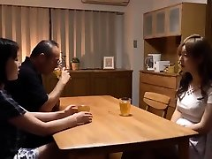 Japanese husband cheating with shemale on bed next to wife