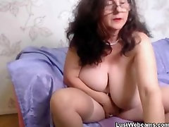 Lustful granny plays with her violator gay in front of cam
