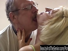 Busty blonde slipig sisters suck an old cock in gym