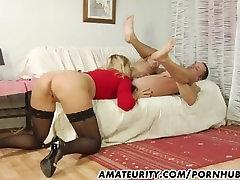 Amateur Milf in stockings sucks and fucks