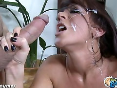 Big assed Jayden Jaymes fucking a gagging on dildo dick