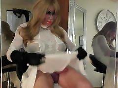 white skirt white dress trannie tease