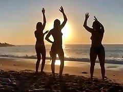 Dutch Presenter Geraldine granny group hd video on beach