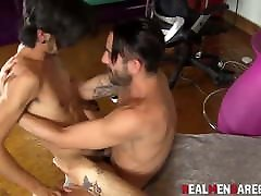 Amateur guys practice real sex with cowboy riding after oral