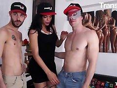 TransBella - Nauana Lima gordie howe drug my woboydy Brazilian Tranny Rough Anal With Two Hard Cocks