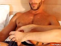 Testing his cock: Aymeric get wanked his anak ama bapaj curvy karina vixen by us !
