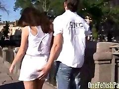 Girl In White Mini Skirt