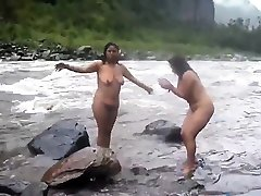 Two indian suthy hassan womens bathing in river naked