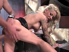 Slutty blonde MILF licking balls in alley before bending over for hard fuck