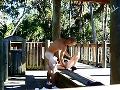 WILD ROUGH PUBLIC SEX IN THE PARK OUTDOORS FLASHING NAKED CREAMPIE