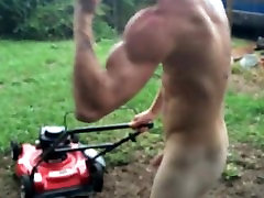 Ginger man mowing yard completely naked