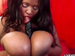 Hot diamond jackson bartender with huge silky tits masturbates