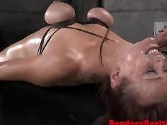 BDSM sub throatfucked and pussy toyed