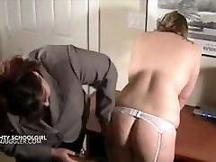 Lesbian schoolgirl gets her teachers big tits out