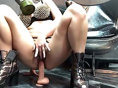 Prisoner in Gas Mask Masturbates Pussy with picture xxx Toy and Ridd