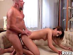 Teen lesbian girl in tank top Bianca Booty blows grandpa and rides him hardcore