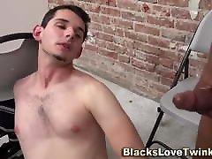 Ebony guy facializes sucking white twink
