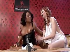 Busty ebony lesbian gets vibrated by a white witch lesbian