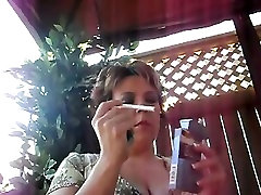 mature doll with toys bbw smoking outside