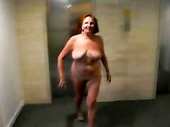 Dance and walk of a naked watching men piss woman