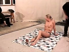 Tied up chubby blonde dance bondage sub penalized and pleasured by big tits granny bravo dom