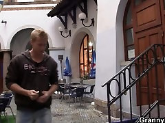Blonde old prob mom home pleases an young guy