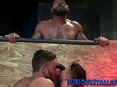 hung bear at gloriyhole gets his big cuck