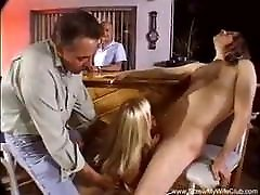 Blonde stand back fucking Takes Two Cocks Deep