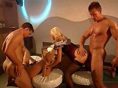 Beautiful Busty Blonde Dutch MILF Fucked, DP, Cum, Lingerie, Helen Duval