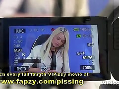 Teen newsreader pissed on by camerawoman