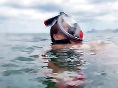 Chrissi is swimming shemale pm in the Mediterranean