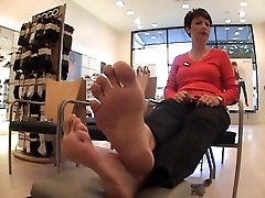 Your mom is in the store showing me her feet