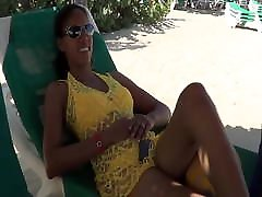 Caribian hot slut mom and prostitute Awilda sunbathing