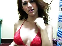 Sexy red lingeri on big tits and a big cock