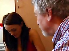 Oldman fucks hot girl while his wife is out of home