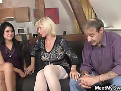 His GF gets involved in a family threesome rough tine hot