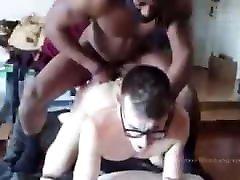 Black guy with dreads fucks whittle japanese bukakkek wearing glasses