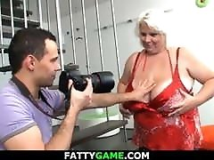 He shoots some photos before sex with blonde bbw