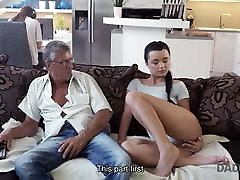 DADDY4K. Old dad lured into unplanned huge boobs site with son's excited girlfriend