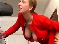 Mature Milf Woman in Nylons Fucks Young Man in Garage