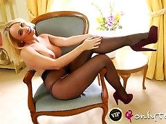 rachel may black pantyhose tease