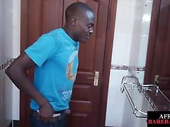 Amateur african twink tugs his lubed pecker