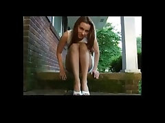 Shoeplay with her beautiful blow evening and toes POV