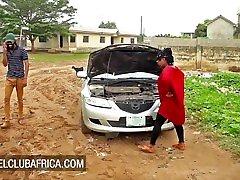 Big tits ebony beauty needs help with her car