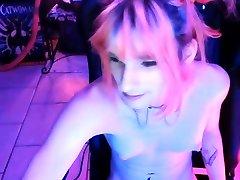 Shemale tranny enjoying solo masturbation