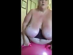 Mature Woman Bouncing on her granny pissing orgie Ball