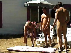Steamy outdoor foursome tailor training sex 2 lesbian couples switch in the Lads Camp